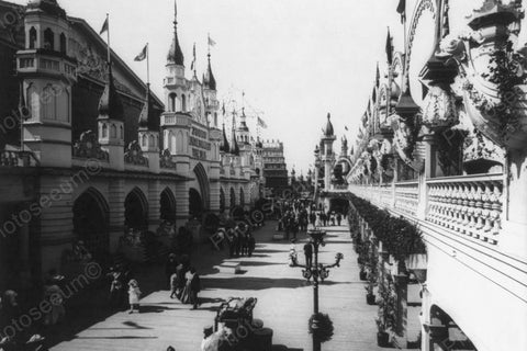 Coney Island Luna Park Promenade 1900s 4x6 Reprint Of Old Photo