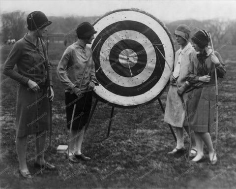 Women At Archery Target Vintage 8x10 Reprint Of Old Photo