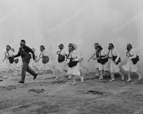 Nurses In Gas Masks Running In Field Vintage 8x10 Reprint Of Old Photo