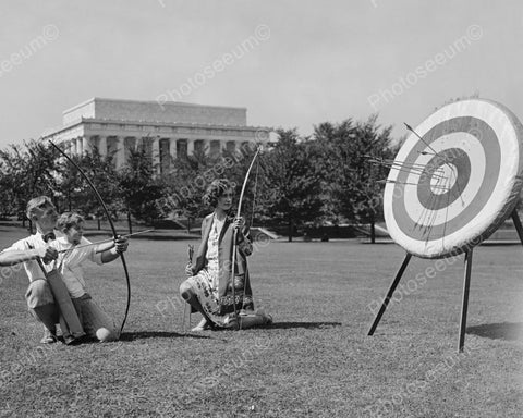 Dad Teaches Small Son Archery 1900s 8x10 Reprint Of Old Photo