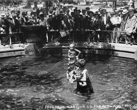 Young Children Enjoy Fountain Swim! 8x10 Reprint Of Old Photo