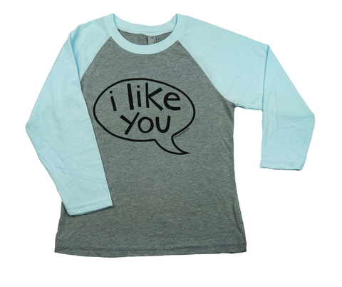 T-Shirt Youth- I Like You Talk Bubble Baseball Tee