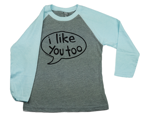 T-Shirt Youth- I Like You Too Talk Bubble Baseball Tee