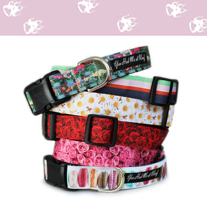 A stack of six dog collars from the French Flower Shop Collection