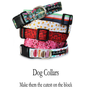 Stack of six unique dog collars from the French Flower Shop Collection