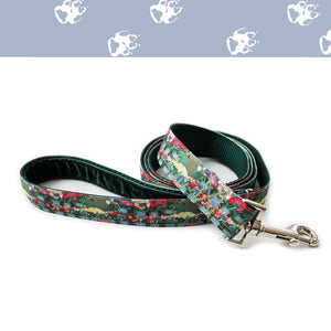 Floral dog leash with green velvet lined handle