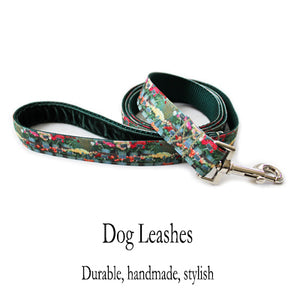French Flower Shop Dog Leash with green velvet lined handle and stainless steel clasp
