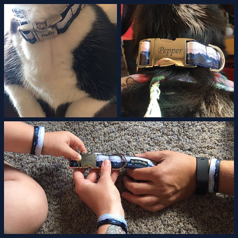 A collage photo with two dogs wearing the Misty Mountain Dog Collar, and three human hands wearing the matching Dog Collar Bracelets.