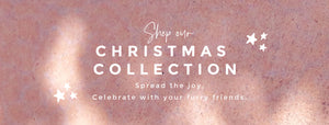Ad with text that says, shop our Christmas collection: Spread the joy. Celebrate with your furry friends..