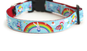 Back side of the Alice in Wonderland Dog Collar showing the pattern repeating along the collar