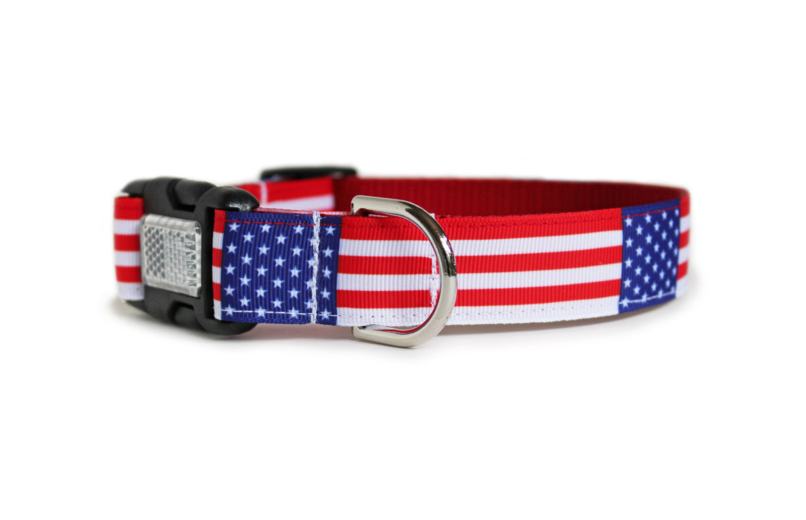 The American Flag Dog Collar with the American flag repeating along the length of the collar.