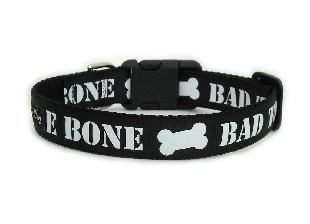 The back of the Bad to the Bone Dog Collar, displaying the pattern repeating itself along the length of the collar.