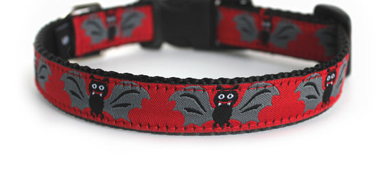 The Batty Dog Collar in red with cute black and gray bats, which repeat along the length of the collar.