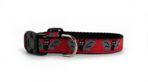 A front view of the Batty Dog Collar in red with cute black and gray bats.