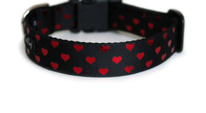 The back of the Secret Valentine Dog Collar, displaying the pattern repeating itself along the length of the collar.