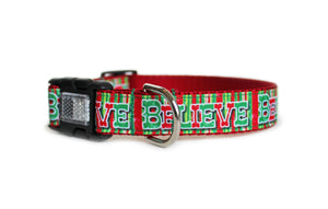 Believe Christmas Dog Collar with red, white, and green vertical stripes and the text, Believe in bold green and red letters