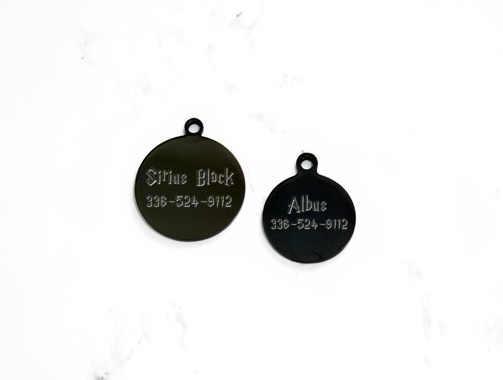 Black Dog ID Tag, Engraved Stainless Steel, Mirror Finish