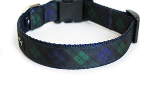 Back side of the Black Watch Plaid Dog Collar, displaying the pattern repeating itself along the length of the collar