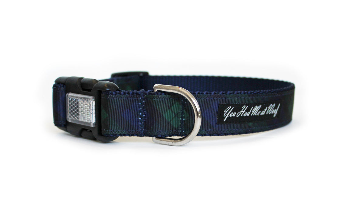 The Black Watch Plaid Dog Collar in plaid with hues of navy blue and dark green.