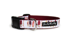 Boho Feathers Dog Collar with rustic feathers in shades of burgundy, pink, and orange