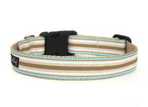 Back side of the Brentley Striped Dog Collar, with horizontal beige, white, and light blue stripes