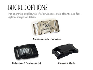 Collar buckle options shown include a black plastic reflective buckle, a curved black plastic buckle, and an aluminum buckle