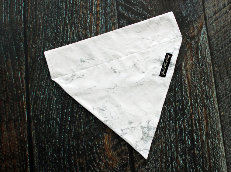 Carrara Marble Dog Bandana, Over the Collar