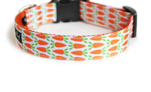 The back of the Carrot Patch Dog Collar, displaying the pattern repeating itself along the length of the collar.