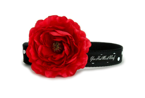 The Classy Polka Dot Dog Collar in all black with white polka dots and the elegant red flower attached.