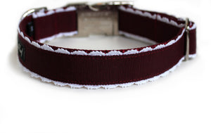 The Back of the Collette Dog Collar in burgundy with white lace trim.