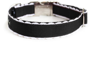The Back of the Collette Dog Collar in black with white lace trim.