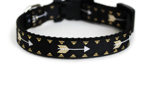 Arrows Tribal Dog Collar in all black with golden arrows