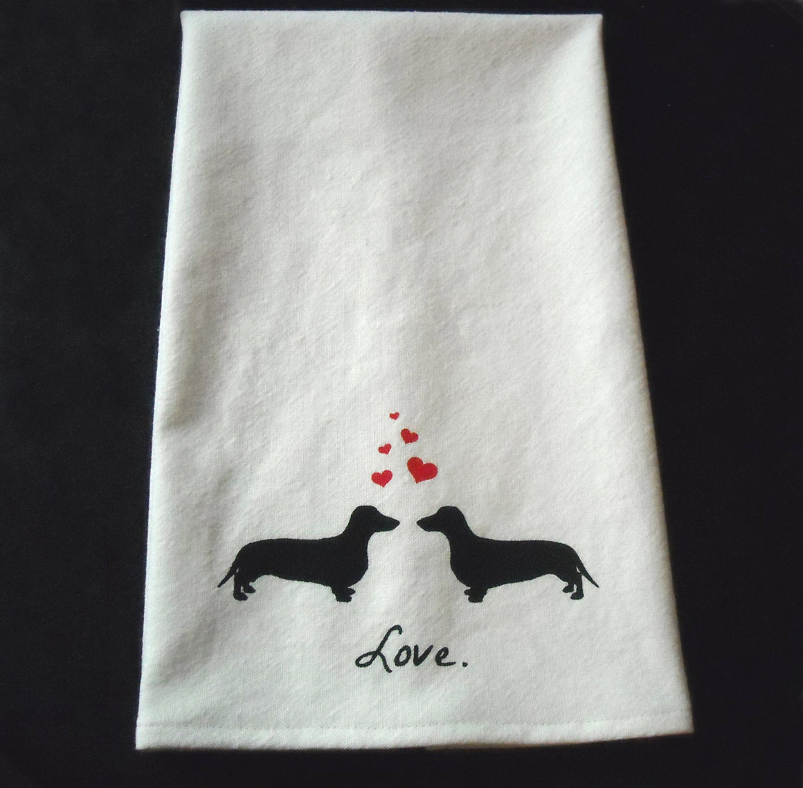 Dachshunds in Love Tea Towel