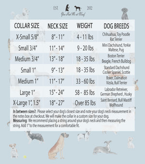 Dog Collar Size Chart for You Had Me at Woof dog collars, with sizes ranging from extra small to extra large.
