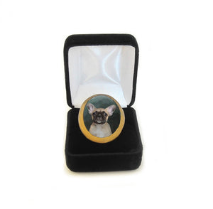 Hand Painted Custom Dog or Cat Portrait Ring nestled in a black velvet jewelry box