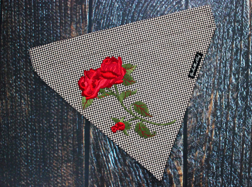 Embroidered Houndstooth Dog Bandana, Over the Collar