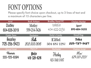 Twelve font options are shown for engraved aluminum or gold buckles.