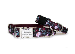 Fall Floral Dog Collar in burgundy with pink and magenta roses, mint green leaves, and engraved aluminum buckle