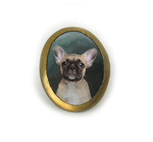 Hand Painted Custom Dog or Cat Portrait Ring with oval gold border