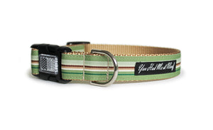 The Finley Dog Collar with khaki webbing and trim with olive green, cream, and brown stripes.