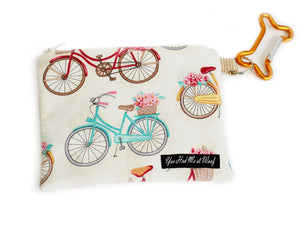 Flower Basket Bikes Treat and Dog Poop Bag Holder in off-white with bicycles in different colors holding flower baskets
