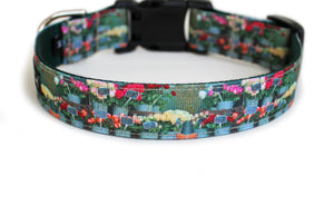 Back side of the French Flower Shop Dog Collar, displaying the pattern repeating along the length of the collar