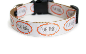 The back of the Fur Baby Dog Collar, displaying the pattern repeating itself along the length of the collar.