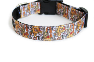 The back of the Group Photo Dog Collar, displaying the pattern repeating itself along the length of the collar.