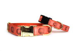 Harvest Pumpkin Dog Collar in soft orange with realistic-looking pumpkins along the length of the collar.