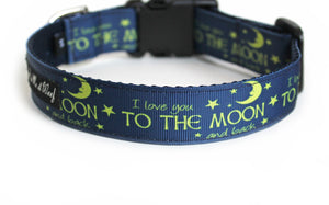The back of the I Love You to the Moon and Back Dog Collar, displaying the pattern repeating itself along the length of the collar.