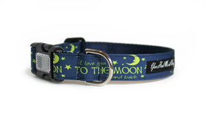 The I Love You to the Moon and Back Dog Collar in navy blue with yellow text that says, I Love You to the Moon and Back with a yellow moon.