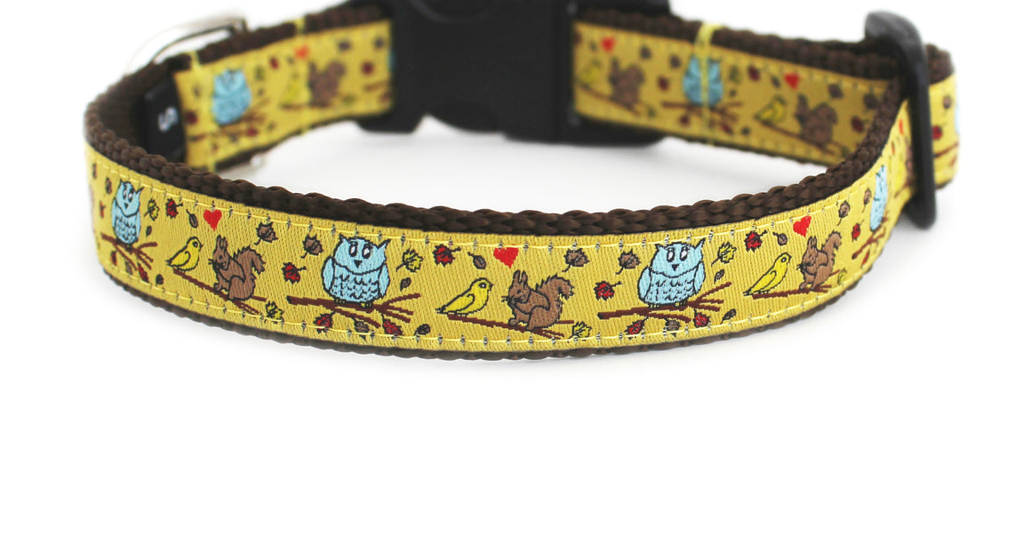 The In the Fall Dog Collar in golden yellow with light blue owls, brown squirrels, and tiny red hearts on brown webbing.