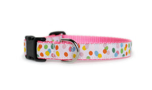 The back of the Jelly Beans Dog Collar, displaying the pattern repeating itself along the length of the collar.