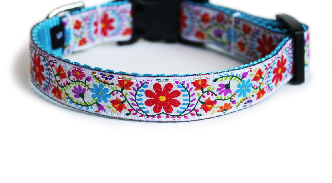 The Joyful Blooms Dog Collar in white trim with a vibrant red, aqua, and purple floral motif.